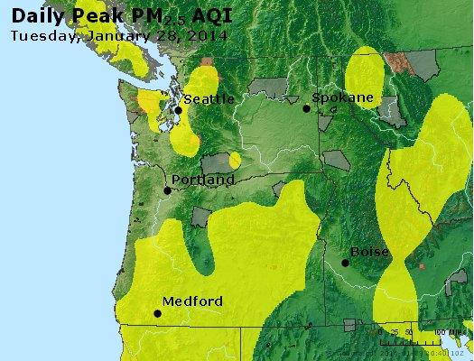 Peak Particles PM<sub>2.5</sub> (24-hour) - http://files.airnowtech.org/airnow/2014/20140128/peak_pm25_wa_or.jpg