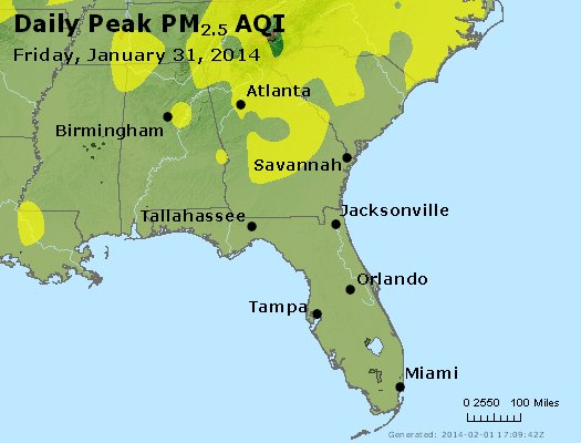 Peak Particles PM<sub>2.5</sub> (24-hour) - http://files.airnowtech.org/airnow/2014/20140131/peak_pm25_al_ga_fl.jpg