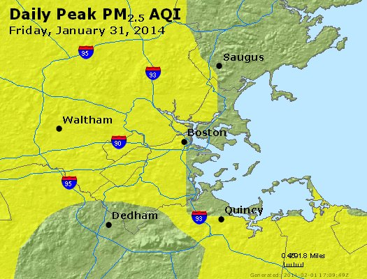 Peak Particles PM<sub>2.5</sub> (24-hour) - http://files.airnowtech.org/airnow/2014/20140131/peak_pm25_boston_ma.jpg