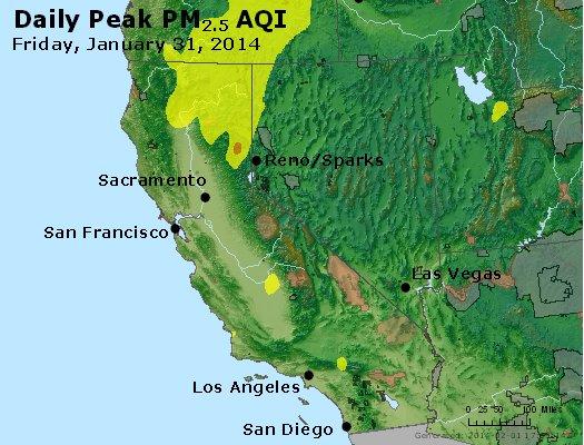 Peak Particles PM<sub>2.5</sub> (24-hour) - http://files.airnowtech.org/airnow/2014/20140131/peak_pm25_ca_nv.jpg