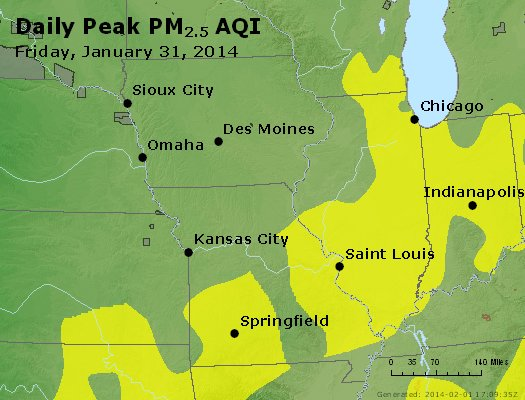 Peak Particles PM<sub>2.5</sub> (24-hour) - http://files.airnowtech.org/airnow/2014/20140131/peak_pm25_ia_il_mo.jpg