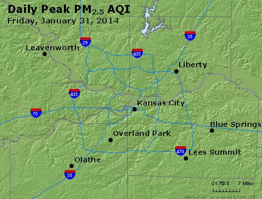 Peak Particles PM<sub>2.5</sub> (24-hour) - http://files.airnowtech.org/airnow/2014/20140131/peak_pm25_kansascity_mo.jpg