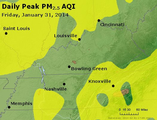 Peak Particles PM<sub>2.5</sub> (24-hour) - http://files.airnowtech.org/airnow/2014/20140131/peak_pm25_ky_tn.jpg