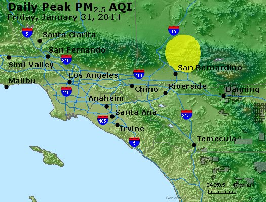 Peak Particles PM<sub>2.5</sub> (24-hour) - http://files.airnowtech.org/airnow/2014/20140131/peak_pm25_losangeles_ca.jpg