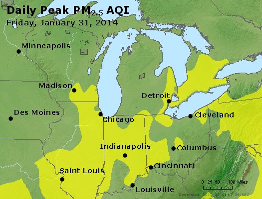Peak Particles PM<sub>2.5</sub> (24-hour) - http://files.airnowtech.org/airnow/2014/20140131/peak_pm25_mi_in_oh.jpg