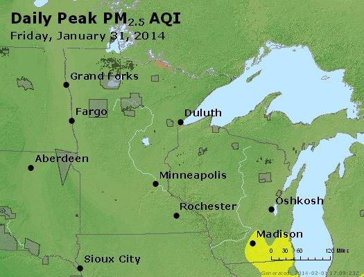 Peak Particles PM<sub>2.5</sub> (24-hour) - http://files.airnowtech.org/airnow/2014/20140131/peak_pm25_mn_wi.jpg