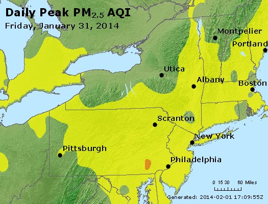 Peak Particles PM<sub>2.5</sub> (24-hour) - http://files.airnowtech.org/airnow/2014/20140131/peak_pm25_ny_pa_nj.jpg