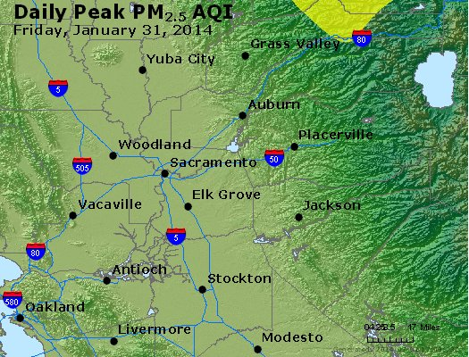 Peak Particles PM<sub>2.5</sub> (24-hour) - http://files.airnowtech.org/airnow/2014/20140131/peak_pm25_sacramento_ca.jpg
