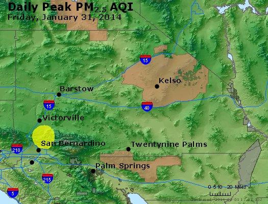 Peak Particles PM<sub>2.5</sub> (24-hour) - http://files.airnowtech.org/airnow/2014/20140131/peak_pm25_sanbernardino_ca.jpg