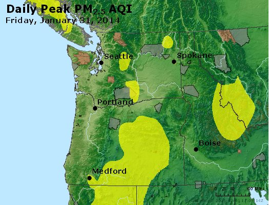 Peak Particles PM<sub>2.5</sub> (24-hour) - http://files.airnowtech.org/airnow/2014/20140131/peak_pm25_wa_or.jpg
