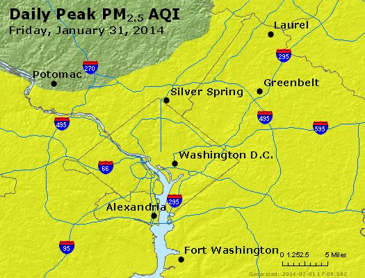 Peak Particles PM<sub>2.5</sub> (24-hour) - http://files.airnowtech.org/airnow/2014/20140131/peak_pm25_washington_dc.jpg