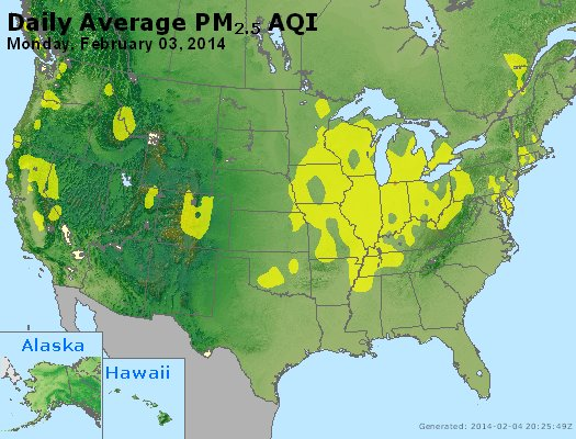Peak Particles PM<sub>2.5</sub> (24-hour) - http://files.airnowtech.org/airnow/2014/20140203/peak_pm25_usa.jpg