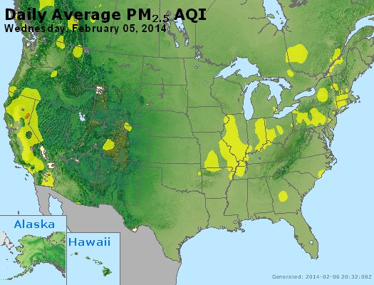 Peak Particles PM<sub>2.5</sub> (24-hour) - http://files.airnowtech.org/airnow/2014/20140205/peak_pm25_usa.jpg