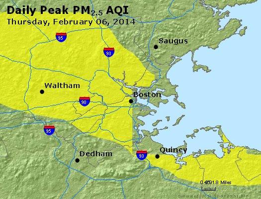 Peak Particles PM<sub>2.5</sub> (24-hour) - http://files.airnowtech.org/airnow/2014/20140206/peak_pm25_boston_ma.jpg