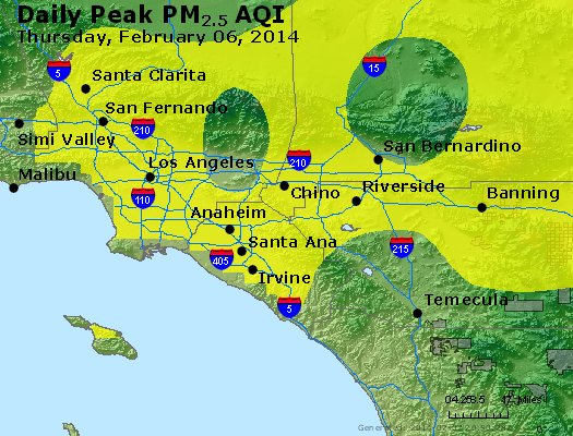 Peak Particles PM<sub>2.5</sub> (24-hour) - http://files.airnowtech.org/airnow/2014/20140206/peak_pm25_losangeles_ca.jpg