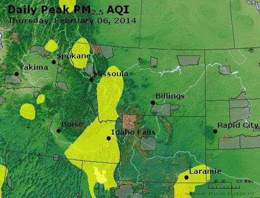 Peak Particles PM<sub>2.5</sub> (24-hour) - http://files.airnowtech.org/airnow/2014/20140206/peak_pm25_mt_id_wy.jpg
