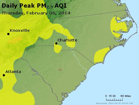 Peak Particles PM<sub>2.5</sub> (24-hour) - http://files.airnowtech.org/airnow/2014/20140206/peak_pm25_nc_sc.jpg