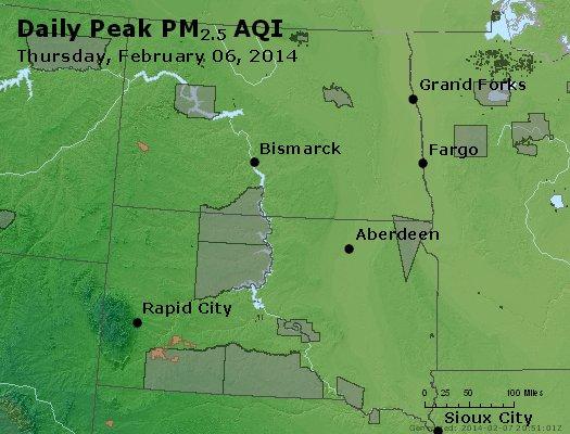 Peak Particles PM<sub>2.5</sub> (24-hour) - http://files.airnowtech.org/airnow/2014/20140206/peak_pm25_nd_sd.jpg