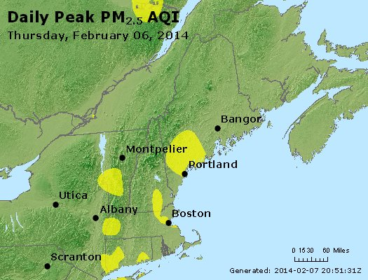 Peak Particles PM<sub>2.5</sub> (24-hour) - http://files.airnowtech.org/airnow/2014/20140206/peak_pm25_vt_nh_ma_ct_ri_me.jpg