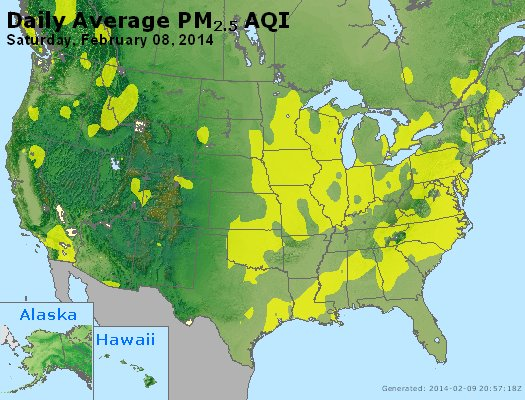 Peak Particles PM<sub>2.5</sub> (24-hour) - http://files.airnowtech.org/airnow/2014/20140208/peak_pm25_usa.jpg
