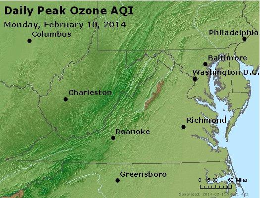 Peak Ozone (8-hour) - http://files.airnowtech.org/airnow/2014/20140210/peak_o3_va_wv_md_de_dc.jpg