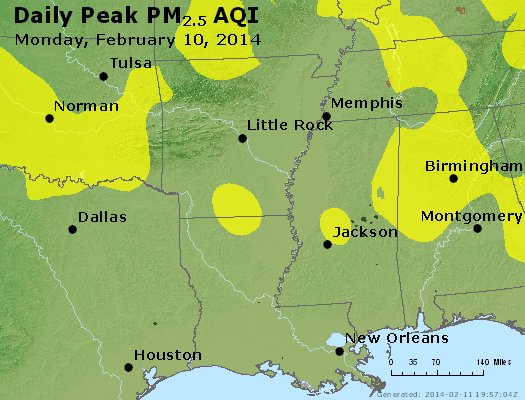 Peak Particles PM<sub>2.5</sub> (24-hour) - http://files.airnowtech.org/airnow/2014/20140210/peak_pm25_ar_la_ms.jpg
