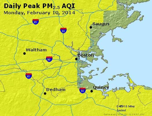 Peak Particles PM<sub>2.5</sub> (24-hour) - http://files.airnowtech.org/airnow/2014/20140210/peak_pm25_boston_ma.jpg