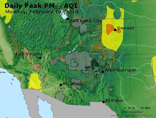 Peak Particles PM<sub>2.5</sub> (24-hour) - http://files.airnowtech.org/airnow/2014/20140210/peak_pm25_co_ut_az_nm.jpg