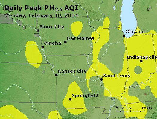 Peak Particles PM<sub>2.5</sub> (24-hour) - http://files.airnowtech.org/airnow/2014/20140210/peak_pm25_ia_il_mo.jpg