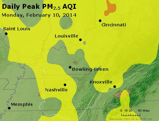 Peak Particles PM<sub>2.5</sub> (24-hour) - http://files.airnowtech.org/airnow/2014/20140210/peak_pm25_ky_tn.jpg