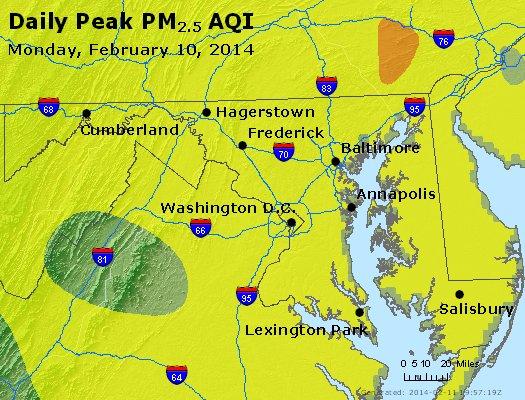 Peak Particles PM<sub>2.5</sub> (24-hour) - http://files.airnowtech.org/airnow/2014/20140210/peak_pm25_maryland.jpg