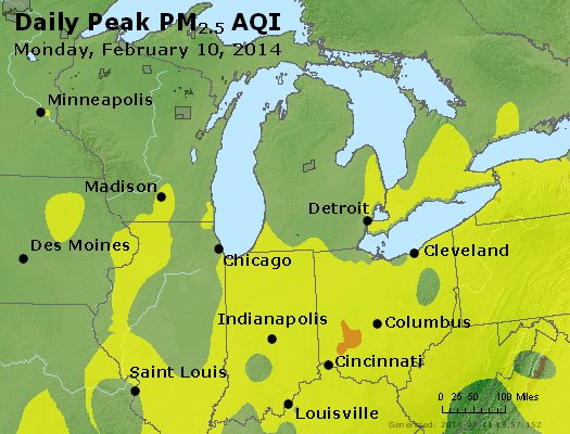 Peak Particles PM<sub>2.5</sub> (24-hour) - http://files.airnowtech.org/airnow/2014/20140210/peak_pm25_mi_in_oh.jpg