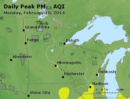 Peak Particles PM<sub>2.5</sub> (24-hour) - http://files.airnowtech.org/airnow/2014/20140210/peak_pm25_mn_wi.jpg