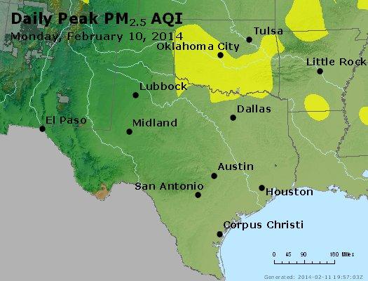 Peak Particles PM<sub>2.5</sub> (24-hour) - http://files.airnowtech.org/airnow/2014/20140210/peak_pm25_tx_ok.jpg