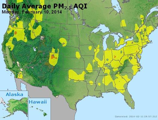 Peak Particles PM<sub>2.5</sub> (24-hour) - http://files.airnowtech.org/airnow/2014/20140210/peak_pm25_usa.jpg