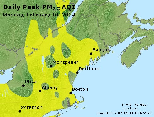 Peak Particles PM<sub>2.5</sub> (24-hour) - http://files.airnowtech.org/airnow/2014/20140210/peak_pm25_vt_nh_ma_ct_ri_me.jpg