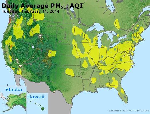 Peak Particles PM<sub>2.5</sub> (24-hour) - http://files.airnowtech.org/airnow/2014/20140211/peak_pm25_usa.jpg
