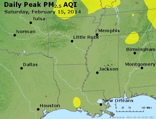 Peak Particles PM<sub>2.5</sub> (24-hour) - http://files.airnowtech.org/airnow/2014/20140215/peak_pm25_ar_la_ms.jpg