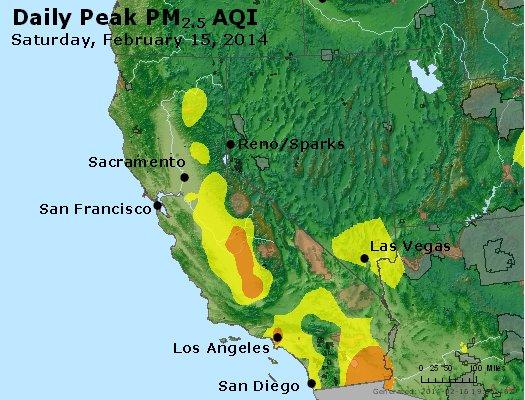 Peak Particles PM<sub>2.5</sub> (24-hour) - http://files.airnowtech.org/airnow/2014/20140215/peak_pm25_ca_nv.jpg
