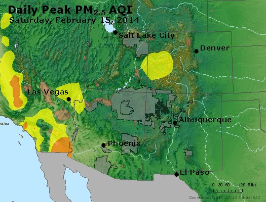 Peak Particles PM<sub>2.5</sub> (24-hour) - http://files.airnowtech.org/airnow/2014/20140215/peak_pm25_co_ut_az_nm.jpg