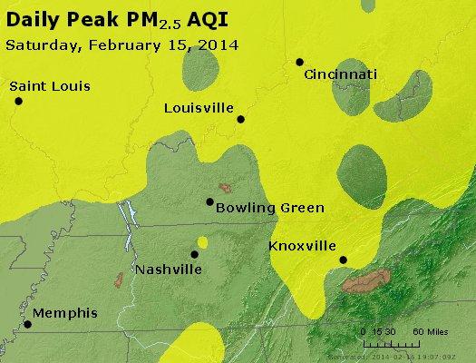 Peak Particles PM<sub>2.5</sub> (24-hour) - http://files.airnowtech.org/airnow/2014/20140215/peak_pm25_ky_tn.jpg