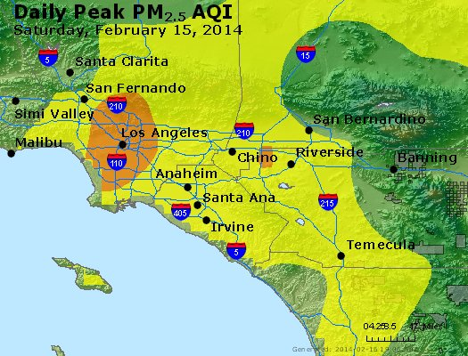 Peak Particles PM<sub>2.5</sub> (24-hour) - http://files.airnowtech.org/airnow/2014/20140215/peak_pm25_losangeles_ca.jpg