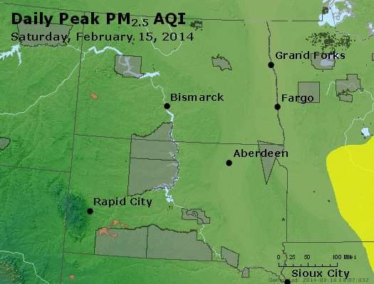 Peak Particles PM<sub>2.5</sub> (24-hour) - http://files.airnowtech.org/airnow/2014/20140215/peak_pm25_nd_sd.jpg