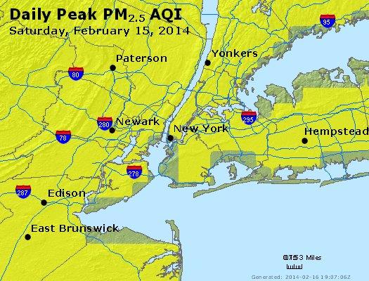 Peak Particles PM<sub>2.5</sub> (24-hour) - http://files.airnowtech.org/airnow/2014/20140215/peak_pm25_newyork_ny.jpg