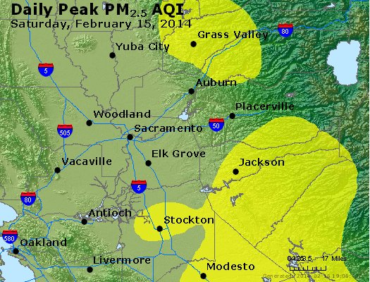 Peak Particles PM<sub>2.5</sub> (24-hour) - http://files.airnowtech.org/airnow/2014/20140215/peak_pm25_sacramento_ca.jpg
