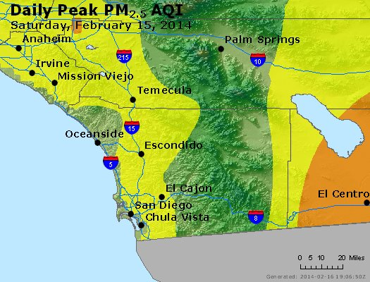 Peak Particles PM<sub>2.5</sub> (24-hour) - http://files.airnowtech.org/airnow/2014/20140215/peak_pm25_sandiego_ca.jpg