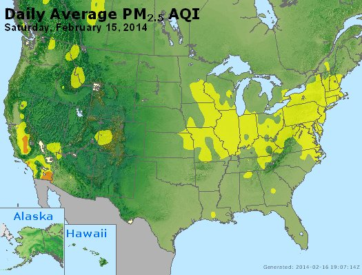 Peak Particles PM<sub>2.5</sub> (24-hour) - http://files.airnowtech.org/airnow/2014/20140215/peak_pm25_usa.jpg