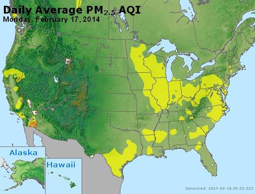 Peak Particles PM<sub>2.5</sub> (24-hour) - http://files.airnowtech.org/airnow/2014/20140217/peak_pm25_usa.jpg