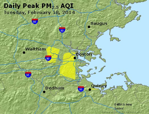 Peak Particles PM<sub>2.5</sub> (24-hour) - http://files.airnowtech.org/airnow/2014/20140218/peak_pm25_boston_ma.jpg