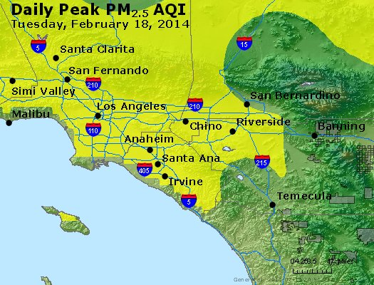 Peak Particles PM<sub>2.5</sub> (24-hour) - http://files.airnowtech.org/airnow/2014/20140218/peak_pm25_losangeles_ca.jpg
